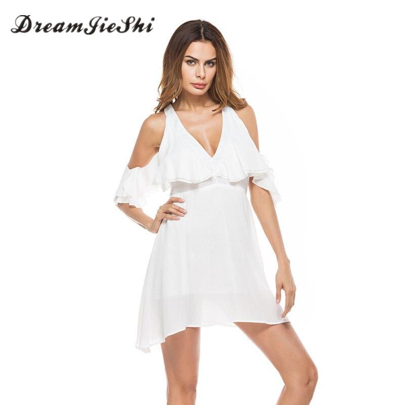 Dreamjieshi 2017 Summer Womens Sexy Deep V Neck Collar Off Shoulder Empire Waist Dress Lotus Sleeve