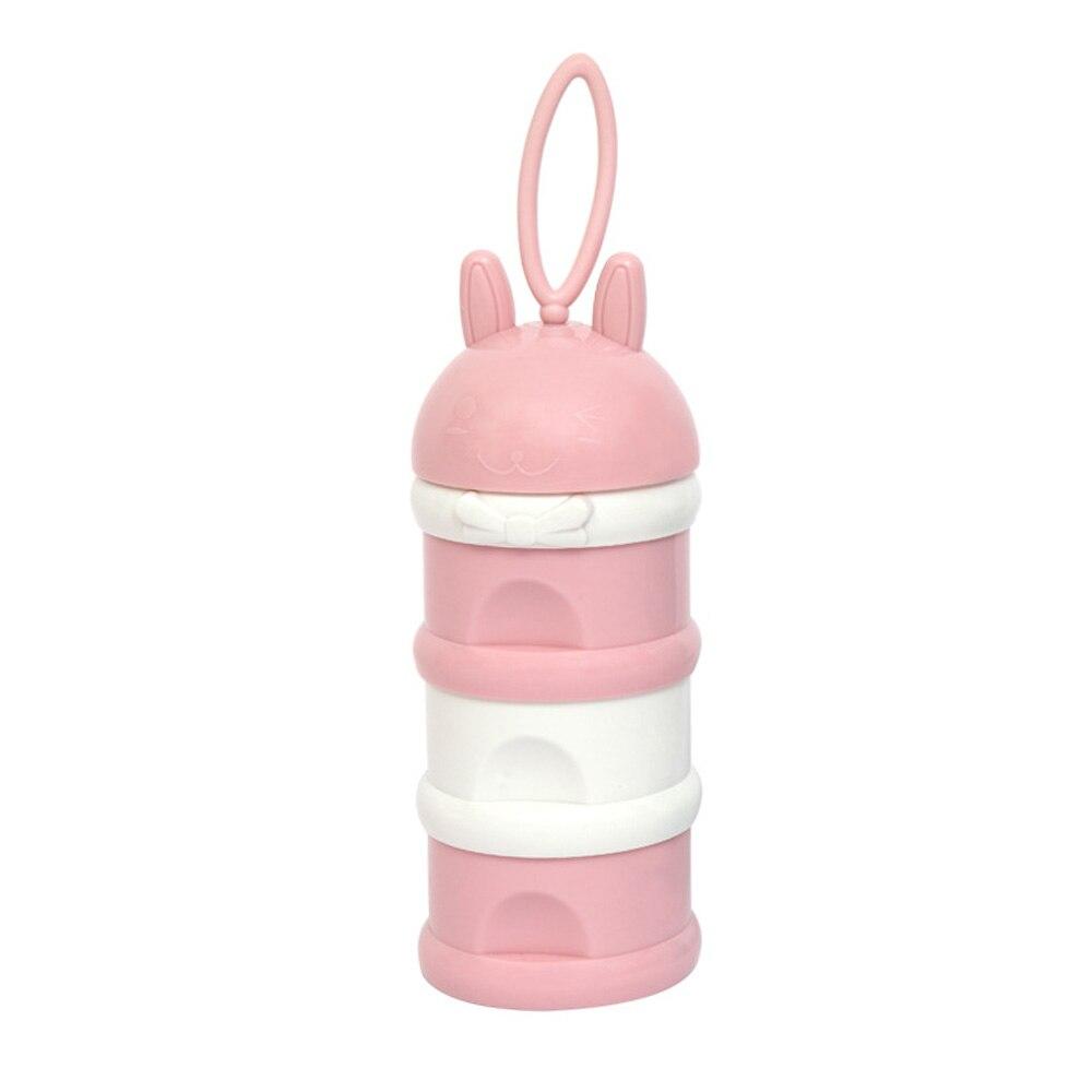Детская коробка для сухого молока, трехслойный полипропиленовый диспенсер для кормления малыша, милый новорожденный - Цвет: Pink