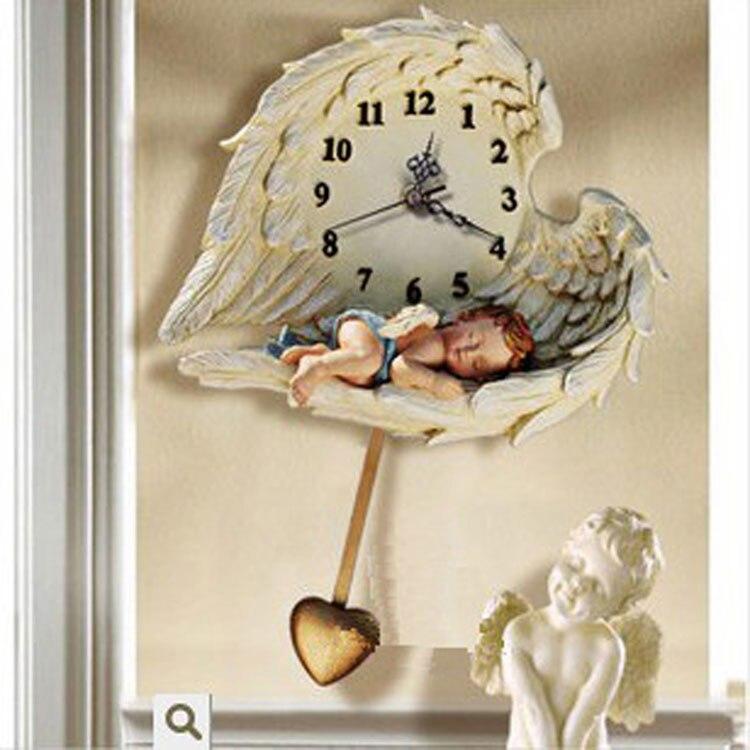 Fashion rustic wall clock swing silent font b watch b font angel modern fashion cupid clock