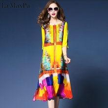 c57ce3b04b La MaxPa 2018 Elegant Rayon Dress Summer Western Fashion Floral Print Dresses  Woman Short Sleeve Brand Vestidos Mujer 3XL Sizes