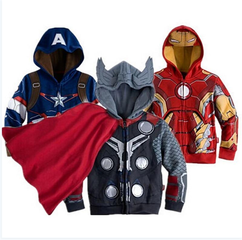 Vendicatori Iron Man Per Bambini Ragazzi Giacca Con Cappuccio Felpa Cappotto Delle Ragazze di Autunno della Molla Cappotti Dei Capretti Del Manicotto Lungo Della Tuta Sportiva Delle Ragazze Vestiti