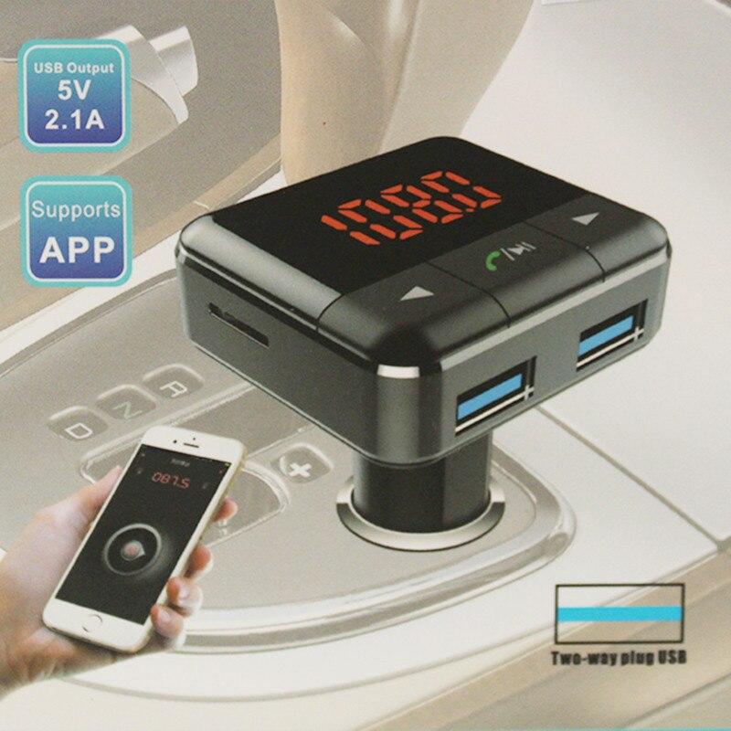 APP Bluetooth samochodowy Zestaw Bezprzewodowy Nadajnik FM Odtwarzacz MP3 Zestaw Głośnomówiący Głośnik 2 Port USB Ładowarka telefonu Wsparcie Audio Muzyka SD karty