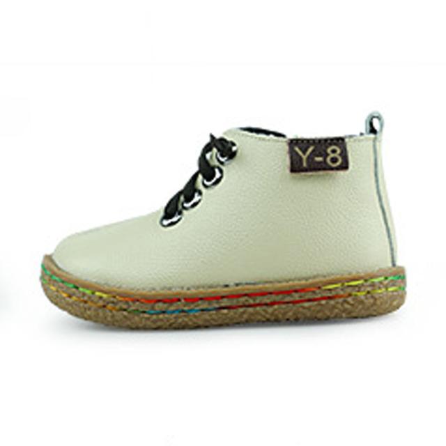 Estilo británico de Los Niños Zapatos Casuales de Cuero Genuino Niños Atan para arriba Botas de Los Niños Niñas Zapatos Niños Moda Botines
