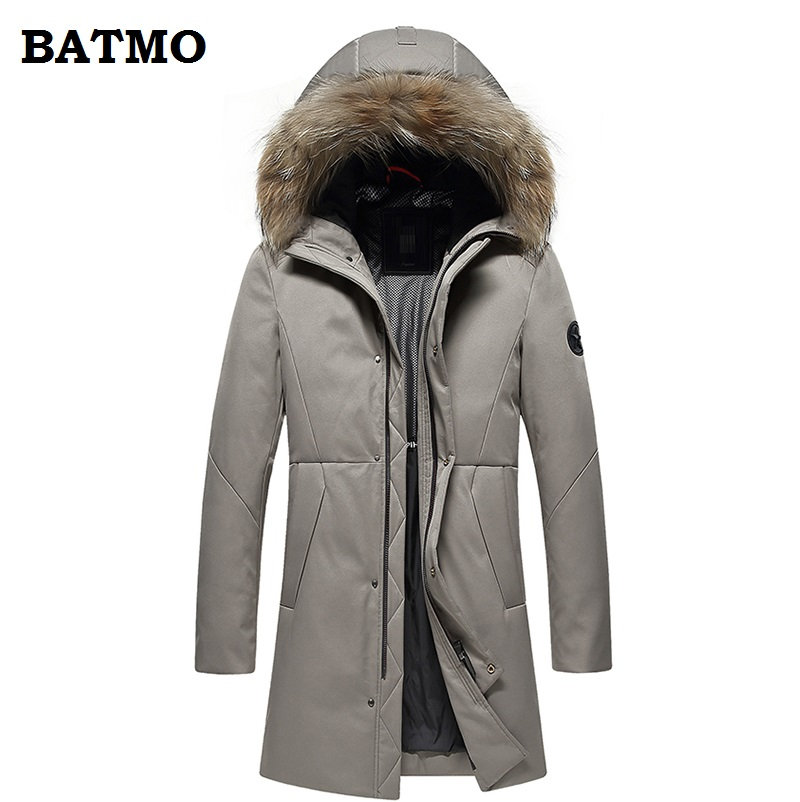 BATMO 2018 new arrival winter high quality thiked warm 90% white duck   down   hooded long jackets men,men's winter   coat   YR9610