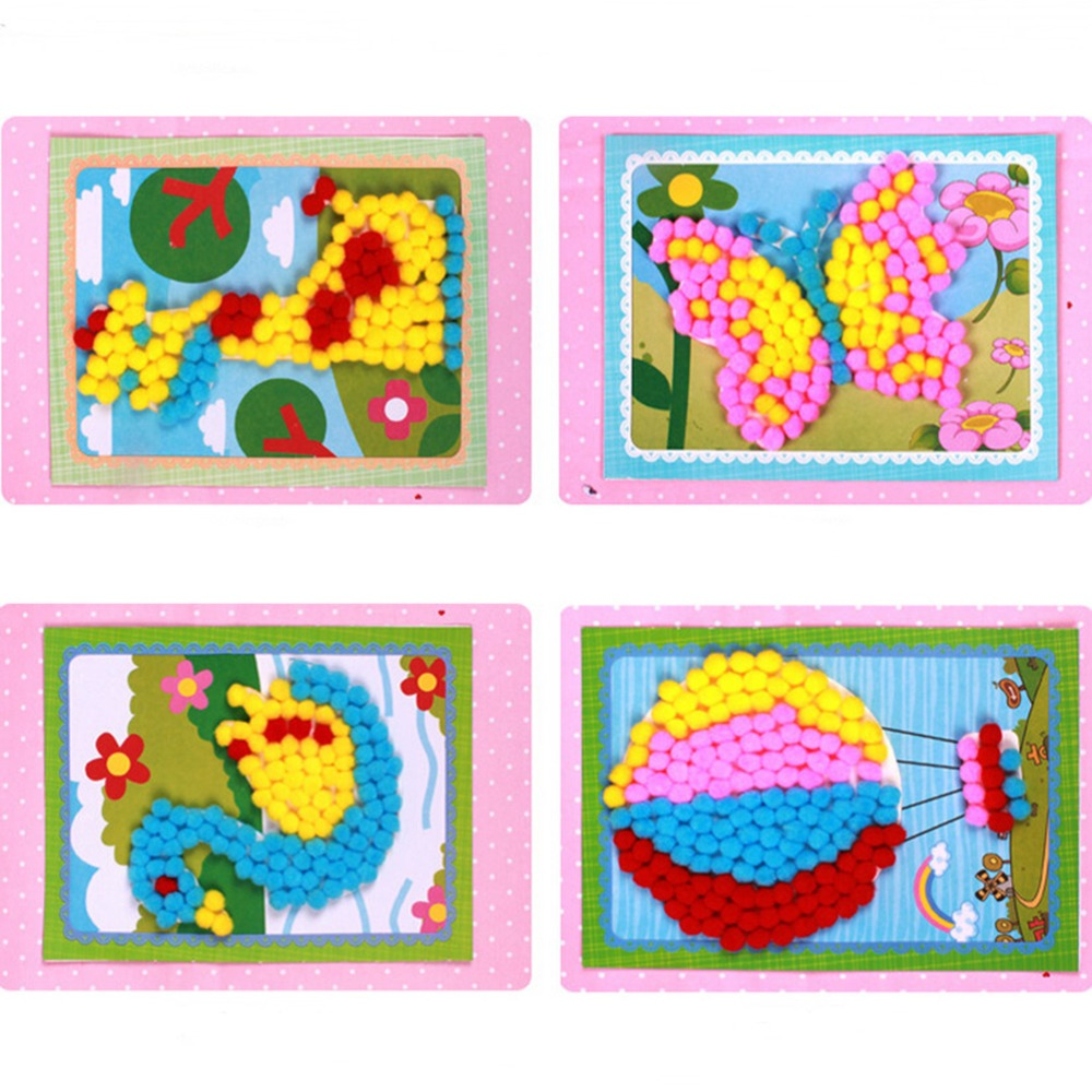 Newly 1 Set Drawing Toy Creative Handcraft Plush Painting With Fold Paper Photo Frame Learning Education Handmade Pompon Sticker