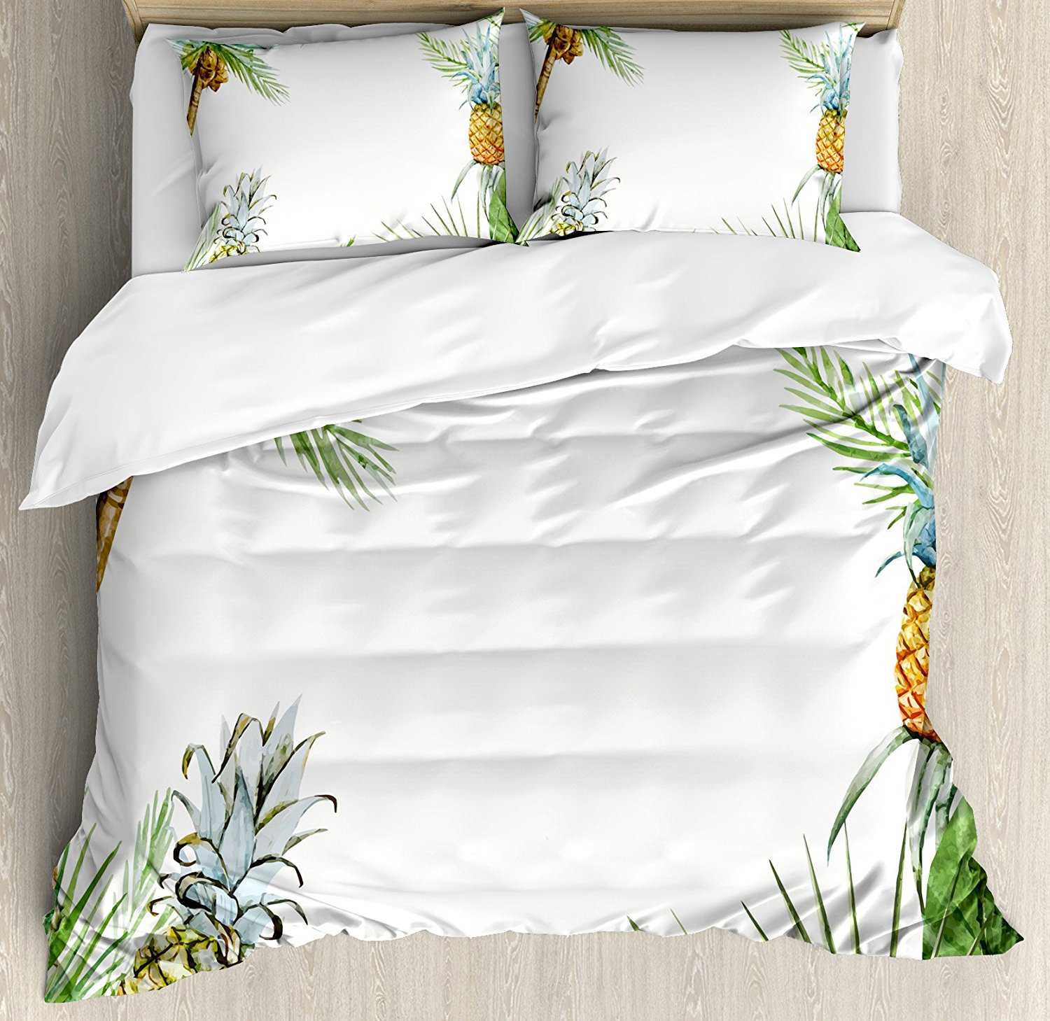 Pineapple Duvet Cover Set Watercolor Tropical Island Style Border Print Exotic Fruit Palm Trees and Leaves