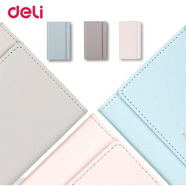Deli 3 colores lindo cartera forma agenda magnética planificador 2018 aganda orangizer cubierta de imitación de cuero diario semanal planificador
