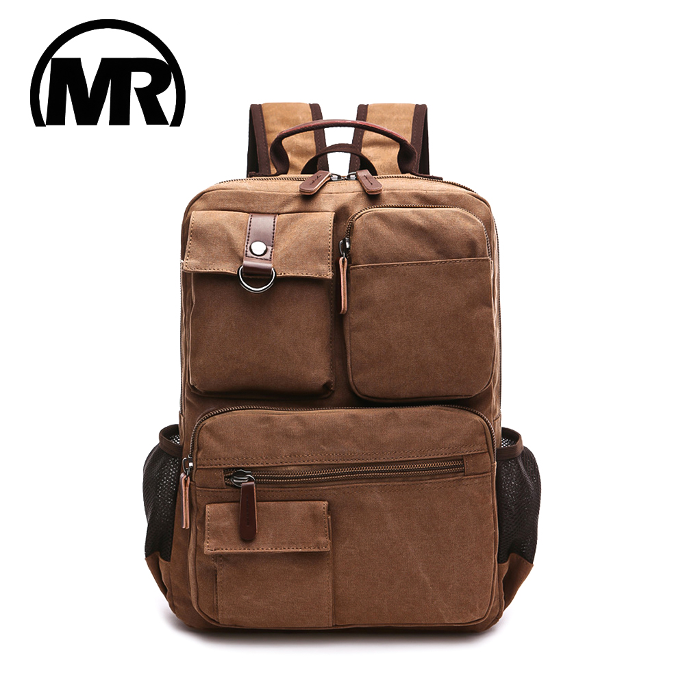 MARKROYAL New Men Canvas Backpack Shoulder Bag Students Leisure Bag Computer Bag School Mochila Teenagers 15inch Laptop Rucksack