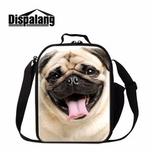 Dispalang Pug Dog Lunch Bag for Kids Samll Crossbody Insulated Cooler Chidlren Animal Cute Box Container Girls