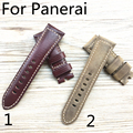 26mm Watch Genuine Italy Calf Leather Vintage Watch Strap Watchband Men's Belt for PANERAI 44MM With logo Without Buckle Clasp