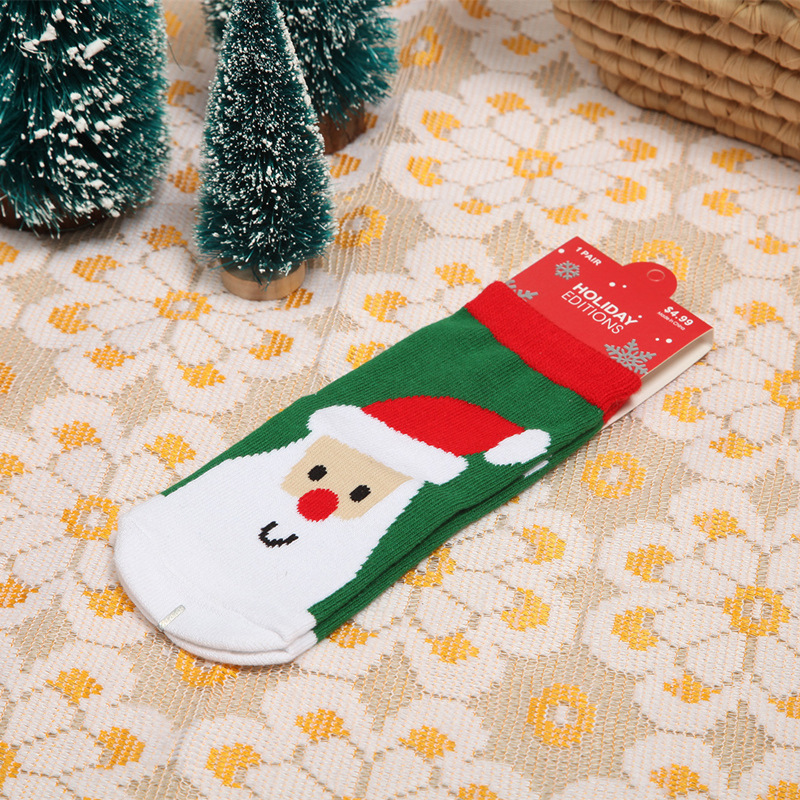 1Pair cotton Christmas children's socks Christmas baby socks Christmas socks autumn & winter explosions Student socks 1