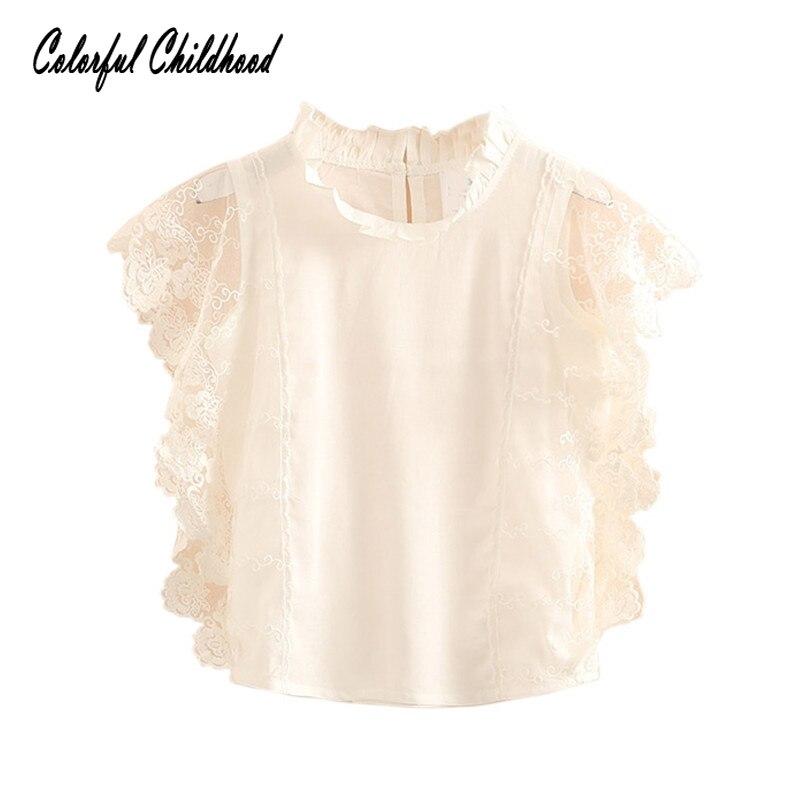 Summer White/blue Sleeveless Lace Vest Girls Tops School Girls   Blouse     Shirt   for toddler Kids Baby clothing 2-10Yrs