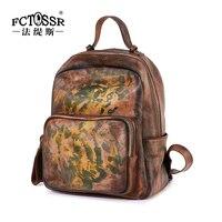 Vintage Genuine Leather Backpack Female New Original Handmade Cowhide Backpack Leisure Travel Backpack Large Capacity School Bag