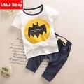 Bebê Menino Roupas 2017 Crianças Meninos Roupas de Verão Criança Set Roupas Menino Dos Desenhos Animados Bat T-shirt + Calças de Algodão para As Crianças T506