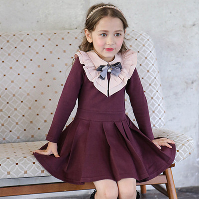 Girls Evening Dress  Autumn Winter Long Sleeve Princess Dresses Kids Dress For Girls Party Dress 2-14Y Children Cotton Clothes fashion 2016 new autumn girls dress cartoon kids dresses long sleeve princess girl clothes for 2 7y children party striped dress