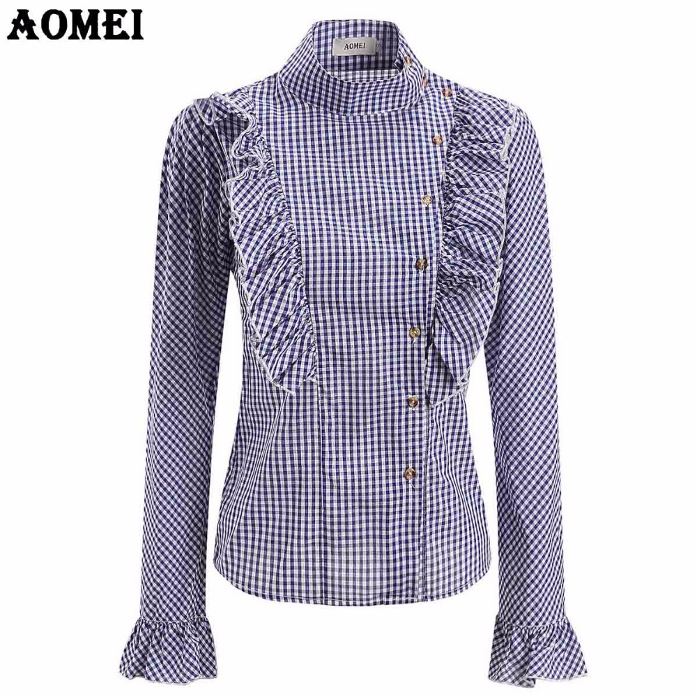 US $14.49 30% OFF Plus Size in Plaid Blouse Retro Checkered Modest Tops  Women Long Sleeve Elegant Gingham Shirt Ruffle Trim Slim Work Shirt  Blusas-in ...