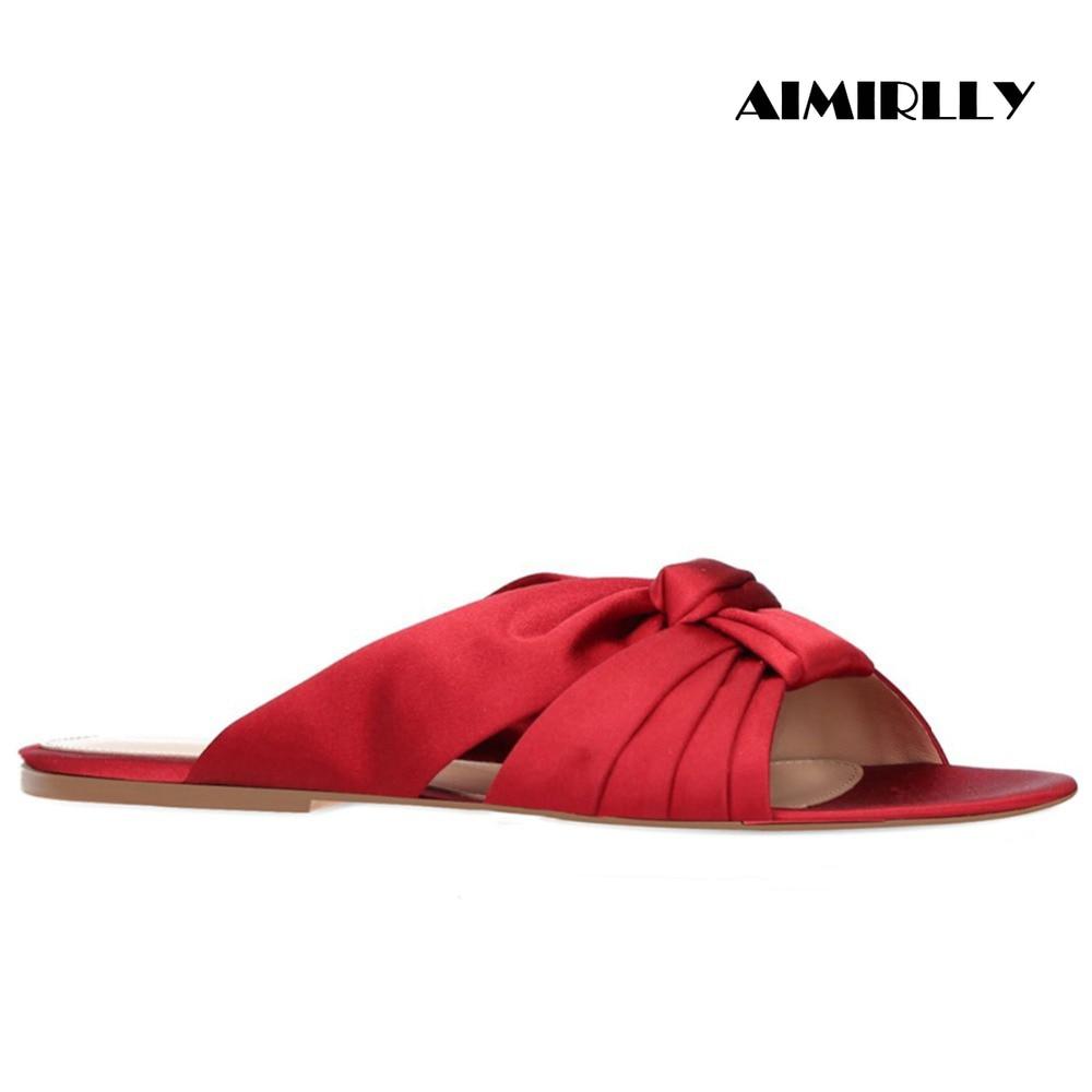 รองเท้าสตรี Flat MULES รองเท้าแตะ Peep Toe Knotted รองเท้าชายหาดรองเท้าฤดูร้อนห้องพักช่วงวันหยุดสีแดงซาตินสบายรองเท้า aimirlly-ใน รองเท้าแตะสตรี จาก รองเท้า บน   1
