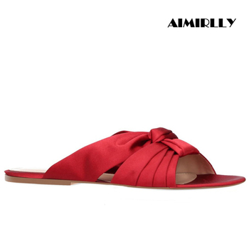 Women's Shoe Flat MULES Sandals Peep Toe Knotted Flats Beach Shoes Summer Vacation Red Satin Comfortable Shoes Slip On Aimirlly