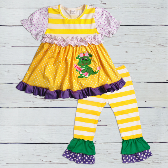 09860bd8a49e Factory Wholesale Price Mardi Gras Kids Wear Embroidery Outfit Boutique  Baby Girls Short Sleeve Clothes Toddler Clothing Sets