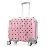 18 ''الأزياء البولكا نقطة التصميم الوردي الفضة سحب قضيب مربع حقيبة سفر حقيبة سفر الأمتعة المتداول maleta koffer