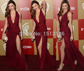 Sexy V-Neck High Split Prom Evening Dresses Golden Globe awards Red Carpet Celebrity Dresses Formal Gowns Vestido de festa XY464
