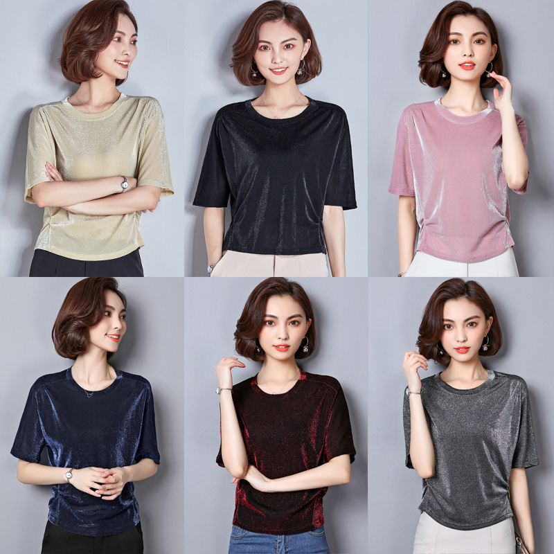 S-3XL Summer Plain T Shirt Women Cotton Elastic Basic T-shirts Female Casual Tops O Neck Short Sleeve Solid T-shirt Elegant Tee