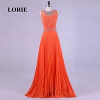 LORIEพลัสขนาดชุดราตรีสวยหรูสำหรับผู้หญิงO-คอลูกปัดด้วยหินA-Lineชีฟองสีส้มลูกไม้พรหมสำหรับพรรคช...