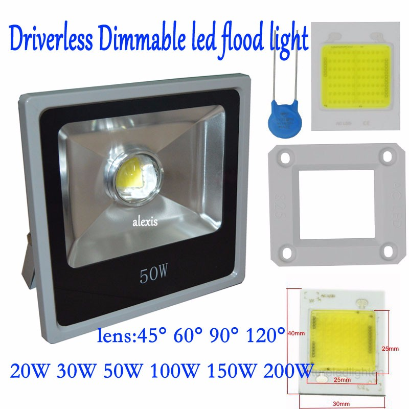led flood light dimmable driverless 20W 30W 50W 100w 60/90degree led Outdoor Lighting 220~265V projector garden search lighting driverless reflector ultrathin led flood light 20w 30w 50w 100w ac85 265v waterproof ip65 floodlight spotlight outdoor lighting