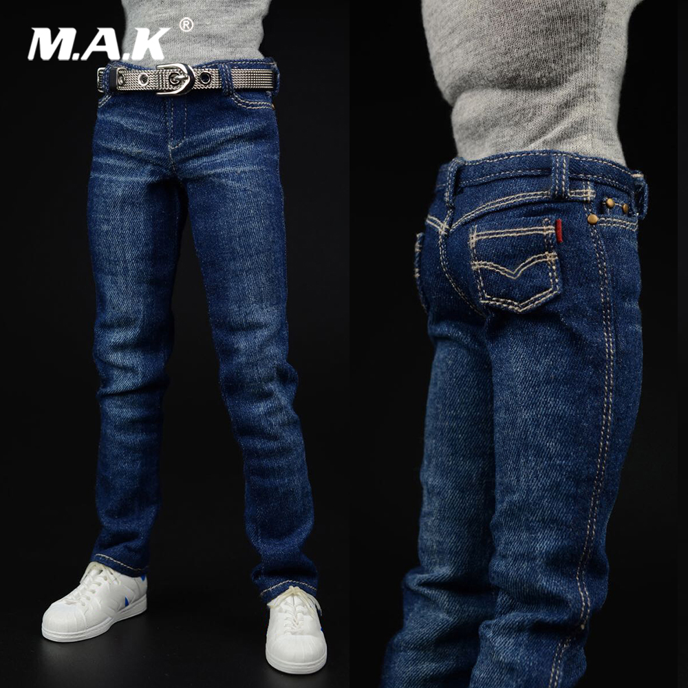 <font><b>1/6</b></font> <font><b>Scale</b></font> <font><b>Male</b></font> Figure Accessory Men's Fashion Apparel American Team Jeans Trousers Model for 12 inches Action Figure Body image
