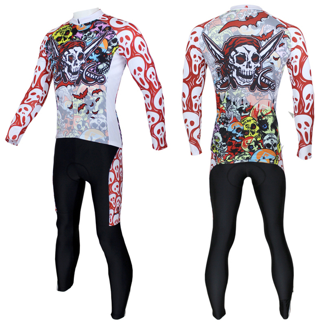 New Skull Pirate Pattern Men Long Sleeve Quick Dry Bike Clothing Size S To 6XL