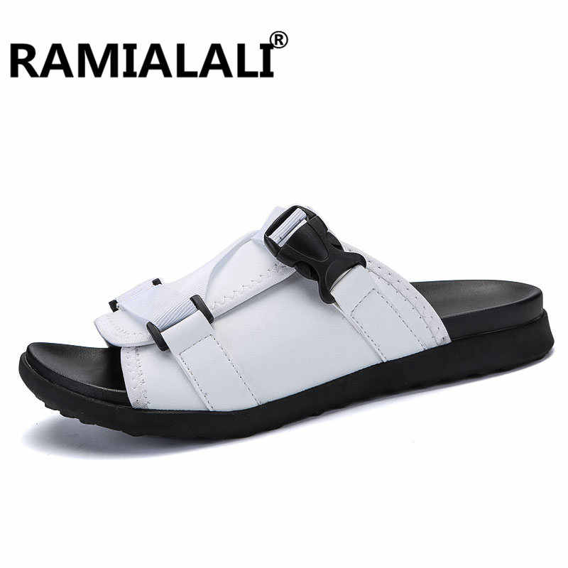 1a9abafb9b98e1 ... Summer Mens Slippers New Outdoor Breathable Real Leather Slipper Men  Casual Beach Shoes Fashion Man Slides ...