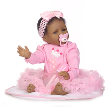 22 inch 55cm NPK Doll Cute Realistic Reborn Balck Baby Doll Head Lifelike Silicone Newborn Baby Pink Clothes Dress Doll Kids 50 55cm silicone reborn baby doll top quality handmade soft touch body vinyl realistic baby doll with pink clothes best
