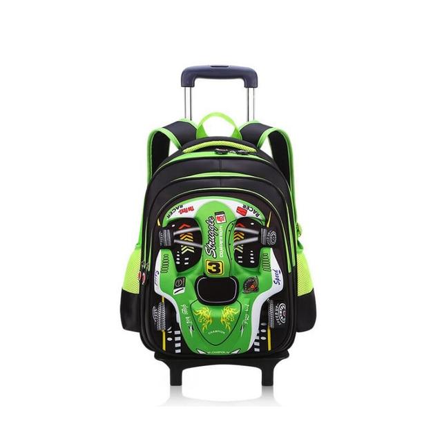 NEW boys students trolley school bag cartoon car Travel luggage 3D car 2  wheels trolley schoolbag backpack for boys grade 1-5 518486ba32