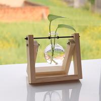 Glass Flower Pot Ball Vase Terrarium Fish Tank Container With Wooden Base