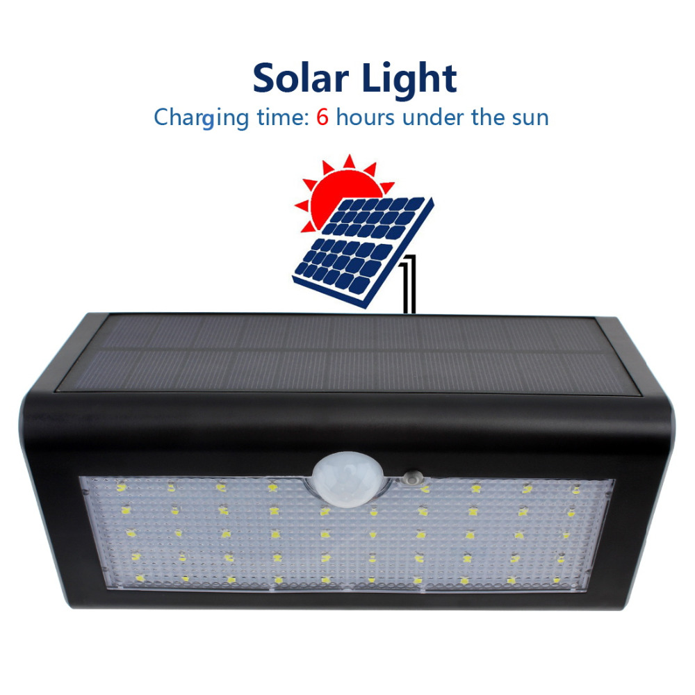 Outdoor Waterproof 48 LEDs Solar <font><b>Light</b></font> PIR Motion Sensor Solar Power LED Wall Lamp for Fence Garden Yard Pathway Security <font><b>Light</b></font>