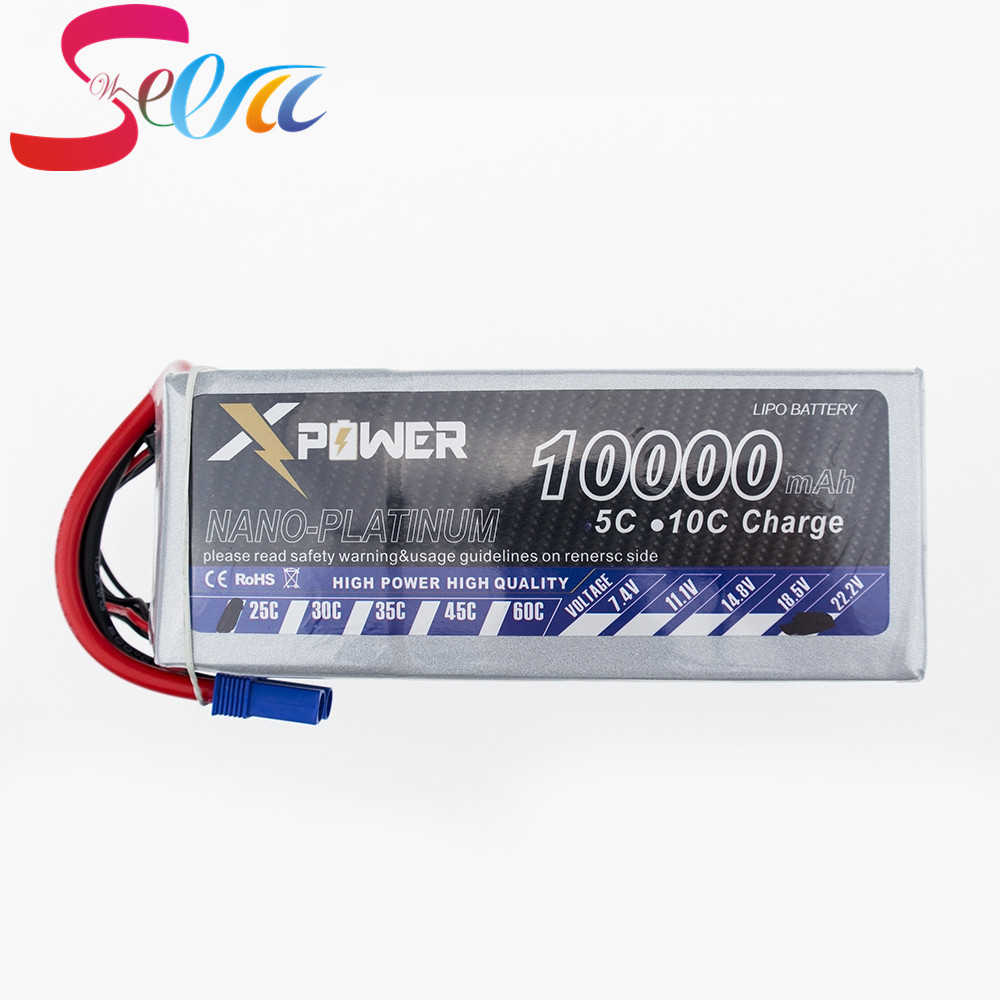 10000Mah 22.2V Lithium Lipo Battery EC5 XT90 T XT60 plug For RC Helicopter Qudcopter Drone Truck Car Boat Bateria 2pcs t plug 5200mah 11 1v 3s 30c lithium li po battery for diy racing rc helicopter qudcopter drone truck car boat parts