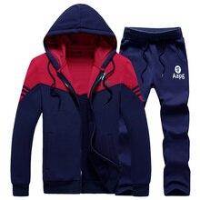 ФОТО hoodie sweatshirt 2 pcs men brand hoodies tracksuit zipper tracksuit hooded coat casual sportswear men clothing warm fleece 3908