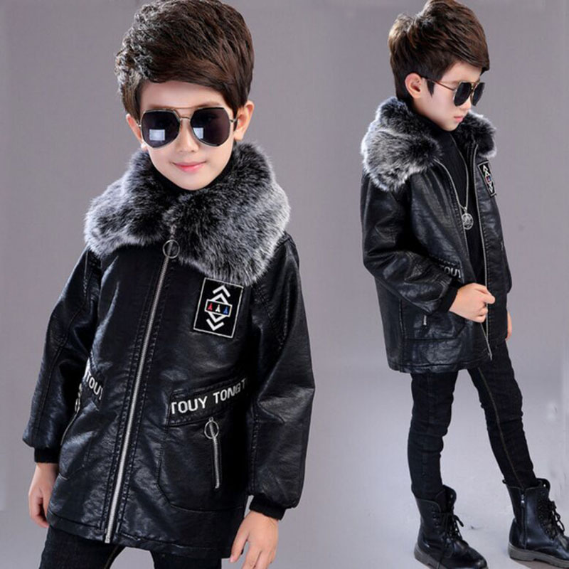 2018 Boys leather jacket fashion Fur Collar Children Faux Leather jacket Kids Coat Leather Jacket For Autumn And Winter embroidered faux leather zip up jacket