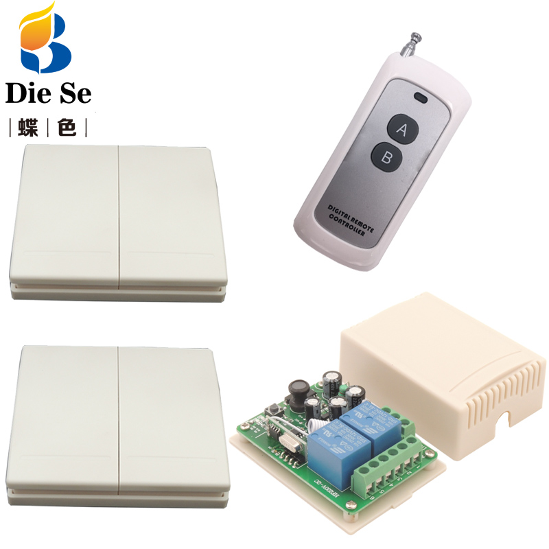 Ambitious Wall Panel Wireless Remote Control 433mhz Ac 220v 2ch Rf Relay Receiver 2 Button For Light Bulb Lamp Wall Switch