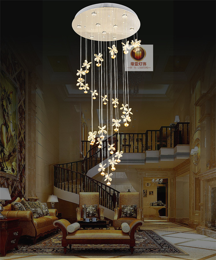 LED crystal pendant light K9 Stairs lights Villa Hotel long crystal re stair hall modern minimalist Pendant Lamps ZH SJ128 stairs lights chinese villa k9 crystal led long pendant lights rotary double staircase living room lighting pendant lamps za