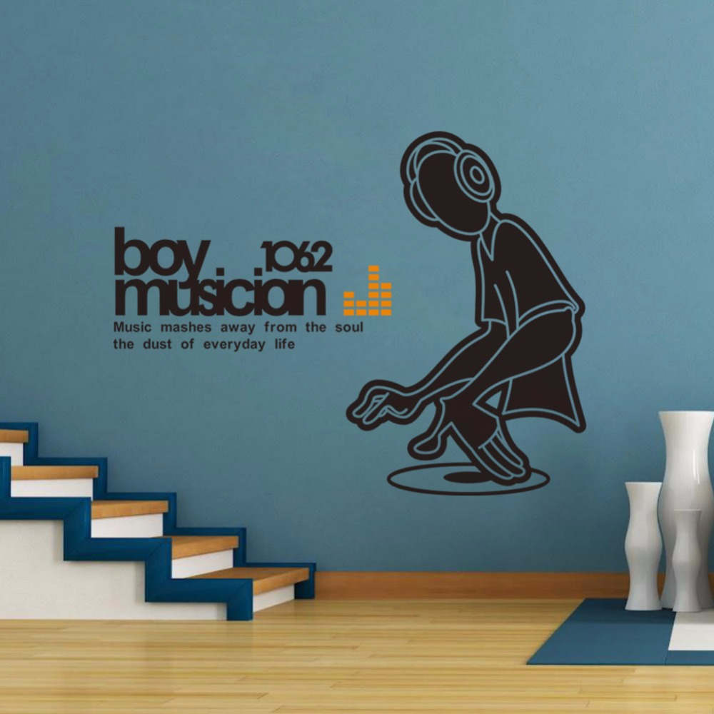 Creative home decor plane wall stickers quotes music dj boy creative home decor plane wall stickers quotes music dj boy pattern for living room decoration finished size 57x74 cm in wall stickers from home garden on amipublicfo Images