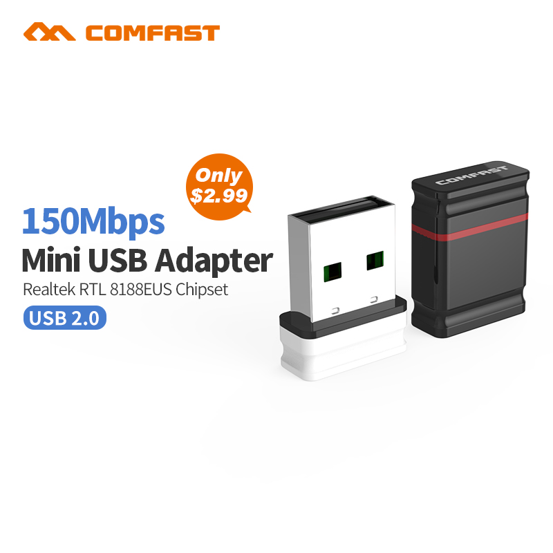 Comfast USB Wireless wifi Adapter built-in 2dB Antenna 150Mbps Network LAN Card Portable Mini Router for Desktop  802.11b/g/n стоимость