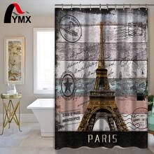Retro Europe Building Waterproof Polyester Shower Curtain Bathroom Home Decorative Accessory for with 12 Hooks
