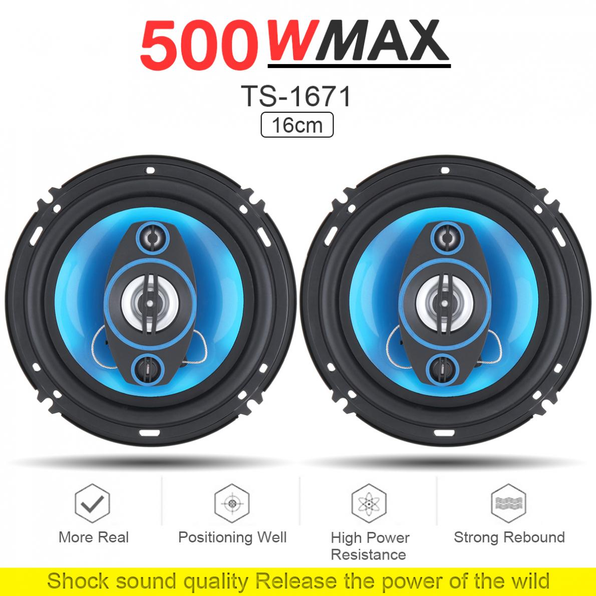 2pcs 12V 6 Inch 500W 2 Way Car Coaxial Auto Audio Music Stereo Full Range Frequency