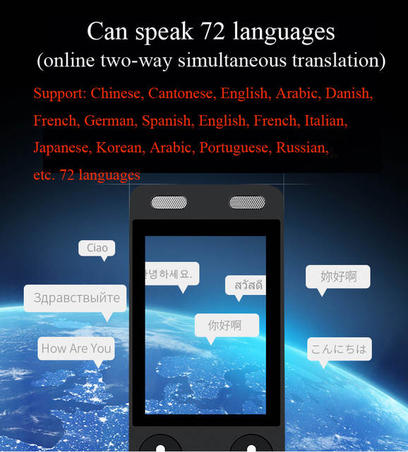 DOSMONO pen Translator support 72 languages 1250mah touch screen Android  6 0 global travel assistant electronic dictionary