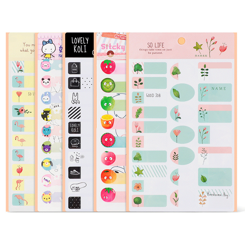 25*2Pcs Cartoon Name Sticker Waterproof Animal Decals Kawaii Flamingo Tags Multicolour Flower Fruit Labels For Children Stickers