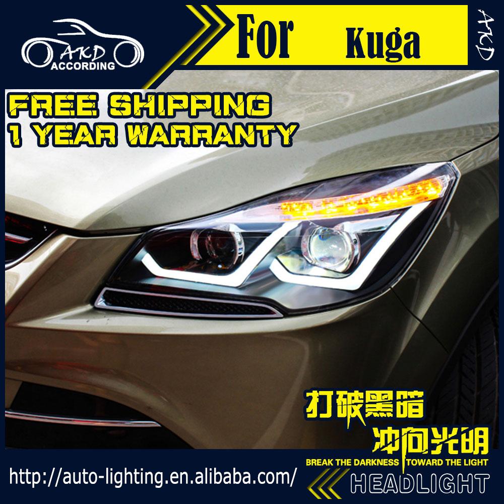 Akd car styling head lamp for ford kuga led headlight 2014 2016 escape led drl h7 d2h hid option angel eye bi xenon beam