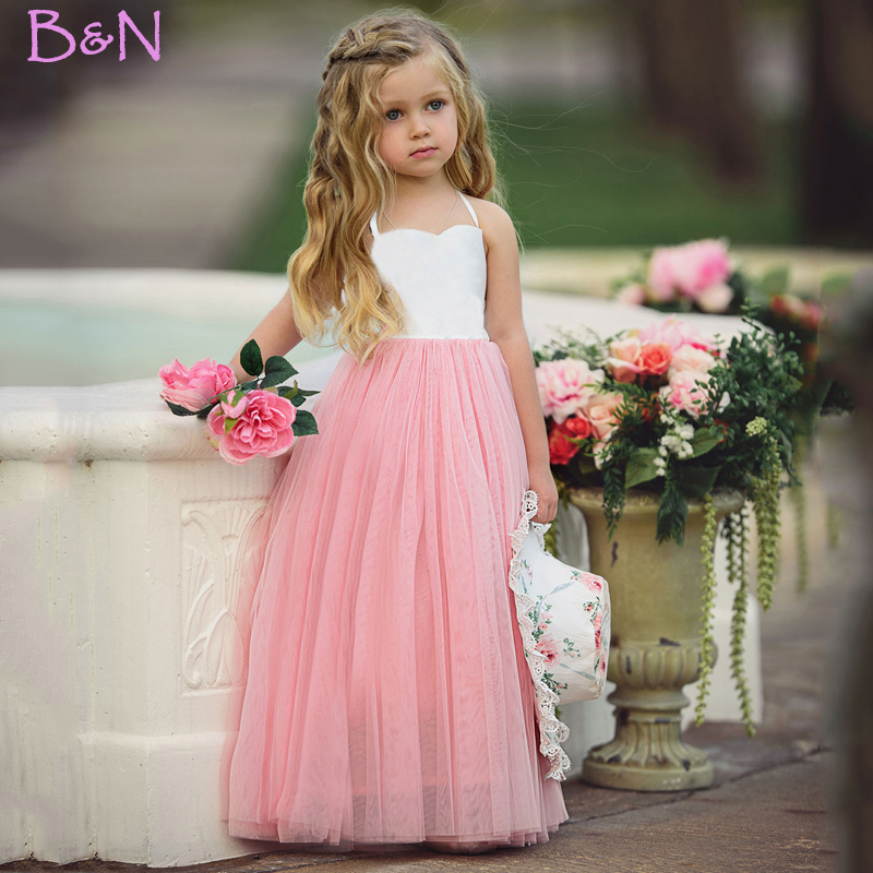 B&N Fashion Spaghetti Girl Dress Wedding Party Tulle For Children Princess Summer Dresses Clothing 1-6
