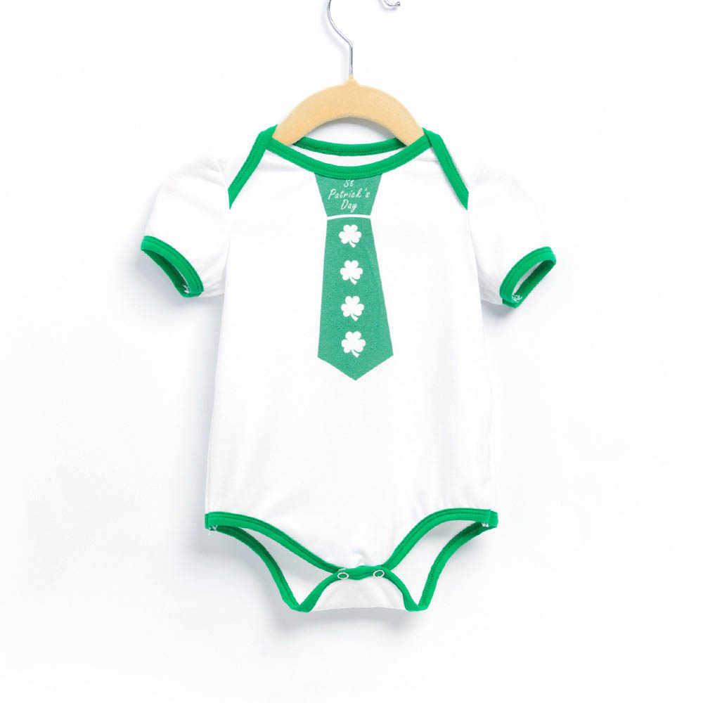 Новое Детское Боди с короткими рукавами на День Святого Патрика, комбинезоны в зеленую полоску, хлопковые боди для новорожденных, одежда для мальчиков 0-24 месяцев