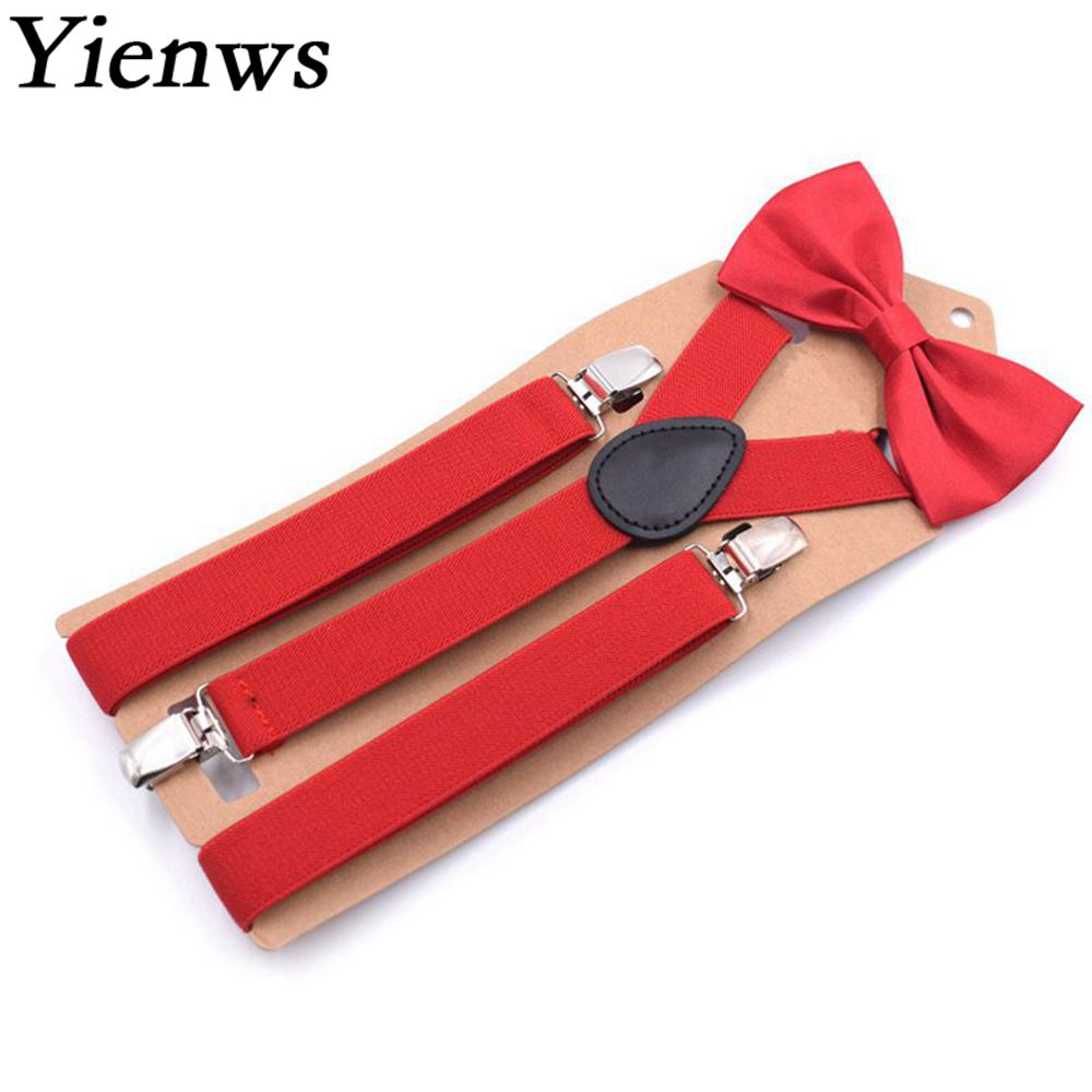 Yienws Wedding Party Red Bow Tie Suspenders for Women 3 Clip Y-Back Brace And Bow Tie Female Pants Suspenders 110cm